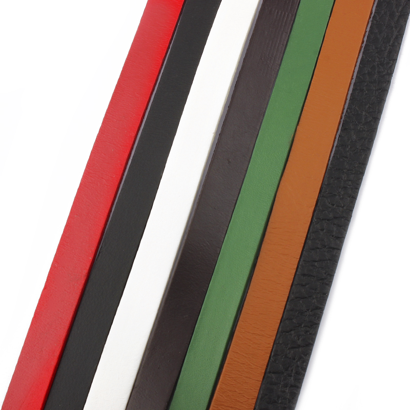 1Meter Black/Brown/Red/Green/White 10mm Flat Genuine Leather Cord Beading Cord Rope String For Jewelry Making Necklace Bracelet