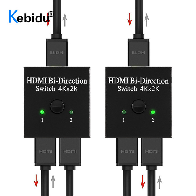1x2 / 2x1 HDMI Switcher Splitter 2 Ports Bi directional 4K HDMI Switch Supports Ultra HD 4K 1080P 3D HDR HDCP for PS4 Xbox HDTV