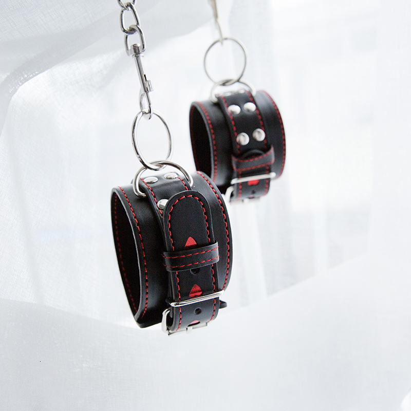 PU Leather Handcuffs Black LOVE Restraints Foot Cuffs Bdsm Sex Toys For Couples Bondage Erotic Womens Ankle Exotic Accessories
