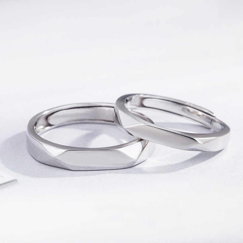 Elfoplatasi Bạc 925 Tối Giản Bề Mặt Mịn Cặp Vợ Chồng Mở Vòng Sizable Cho Nữ Cưới Món Quà Trang Sức DS1861