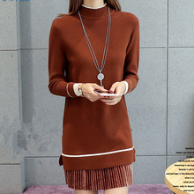Korean Autumn Women Sweater Dress Woman Knitted Sweaters Dresses Elegant Stretch Midi
