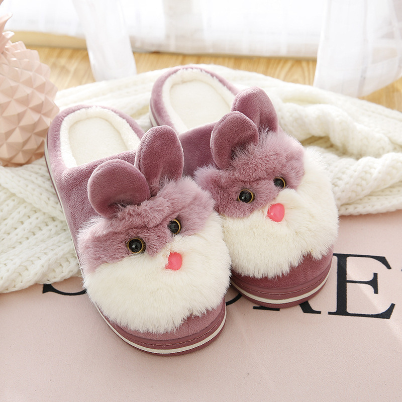 Kids Girls Bunny Rabbit Ears Fluffy Fur Slip On Casual Sneakers Party Crib Shoes