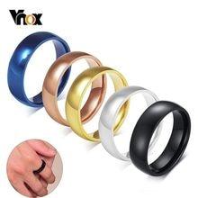 Vnox-Anillo de boda sencillo y clásico para hombre y mujer, banda de compromiso de acero inoxidable de 6mm, joyería de alianza informal Unisex
