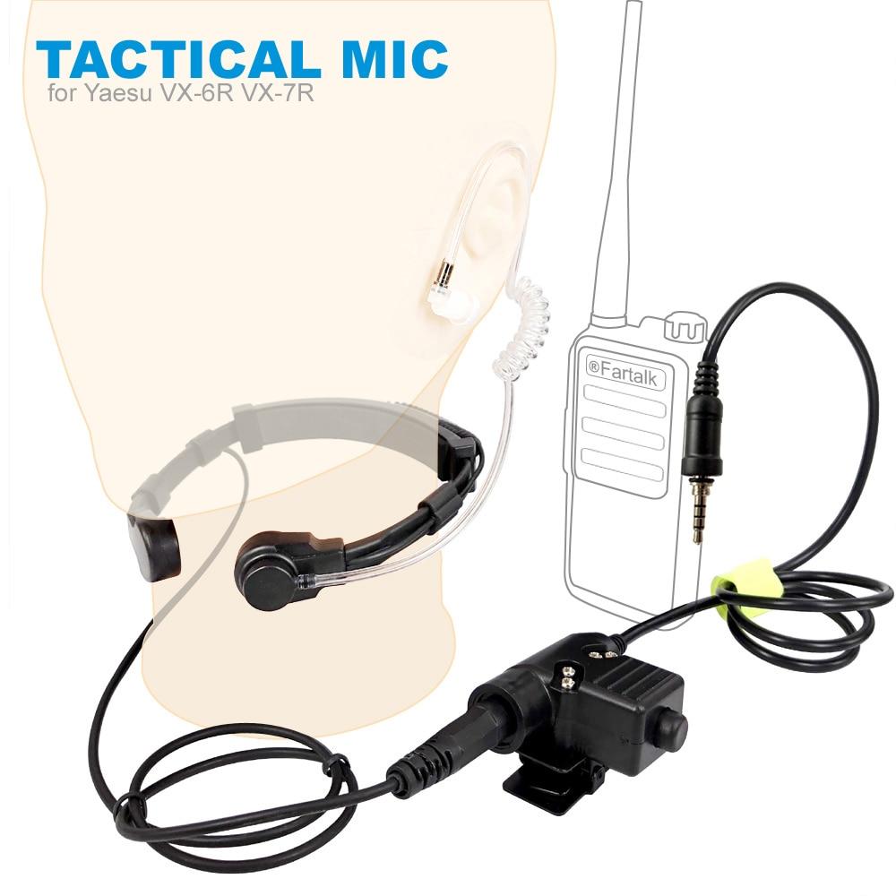 Walkie Talkie Microphone U94 PTT Neck Throat Mic Earpiece Radio Tactical Headset For YAESU Vertex VX-6R VX-7R VX6R VX7R FT-270