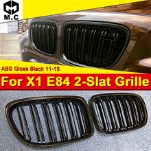 1 Pair X1 E84 Front Grille Grill ABS Gloss Black M-Style Double Slats Grills For BMW Series 1:1 Replacement Look 11-15