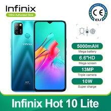 Novo infinix quente 10 lite versão global 2gb 32gb telefone móvel 6.6 core core hd 1600*720p 5000mah bateria 13mp câmera helio a20 quad core