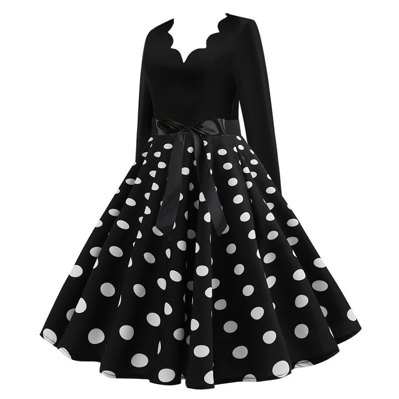 Women Long Sleeve Winter Vintage Dresses Sexy Black Music Note Print V-neck Rockabilly Pin up Party Dress Vestidos Plus size 564