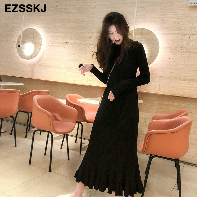Image 4 - 2019 autumn winter thick mermaid maxi sweater dress women o neck long sweater dress elegant female a line slim sexy knit dress-in Dresses from Women's Clothing