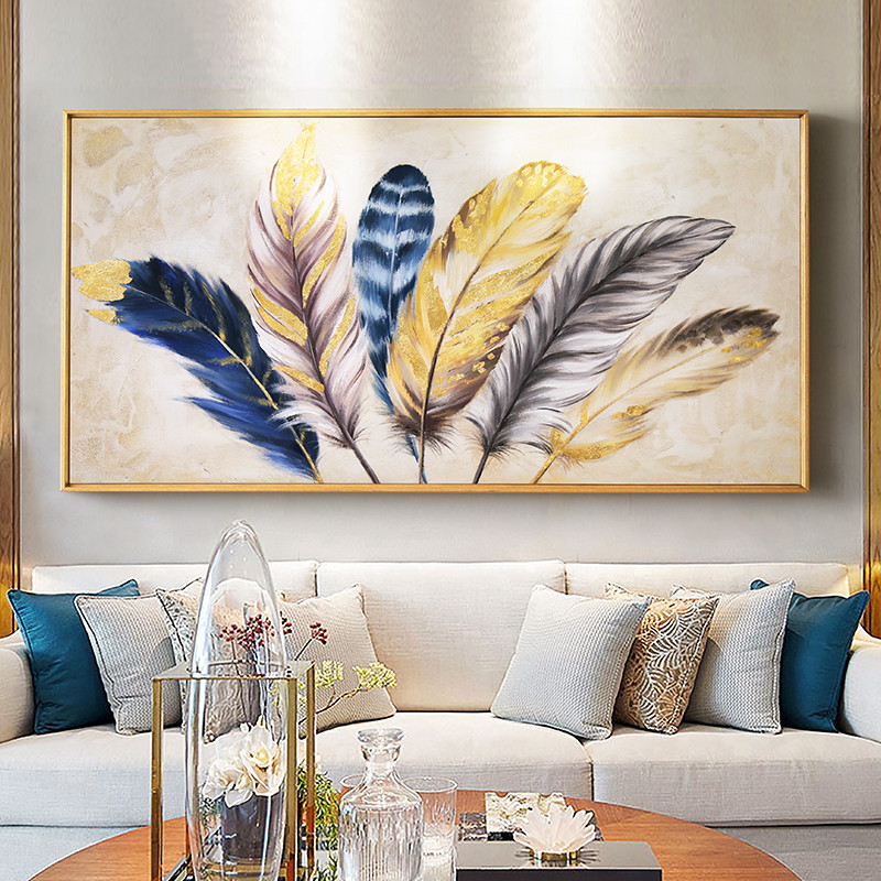 Golden Feather Modern Wall Charts Abstract Canvas Painting Home Living Room Bedroom Decoration Wall Painting Works
