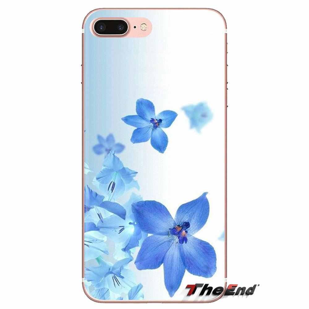 Azul Da Flor Da Orquídea Arte Silicone Capas Para Samsung Galaxy S2 S3 S4 S5 MINI S6 S7 borda S8 S9 Plus nota 2 3 4 5 8 Fundas Coque