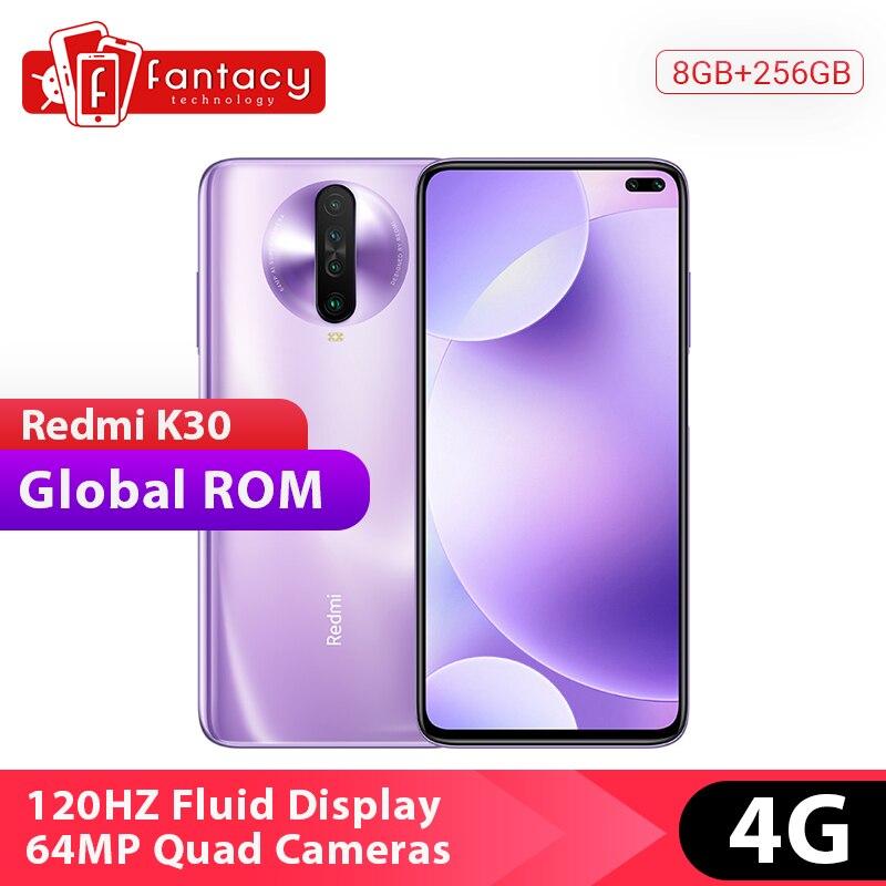 Em estoque rom global xiaomi redmi k30 4g snapdragon 730g 8 gb 256 gb smartphone octa núcleo 64mp quad câmera 6.67 120 hz tela fluida