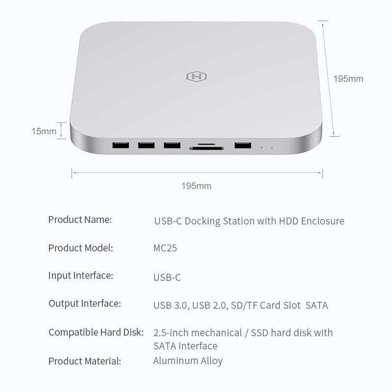 Hagibis USB-C Hub for Mac mini M1 with SATA Hard Drive Enclosure Type-C SSD Case docking station sliver for 2020 New Mac mini-4