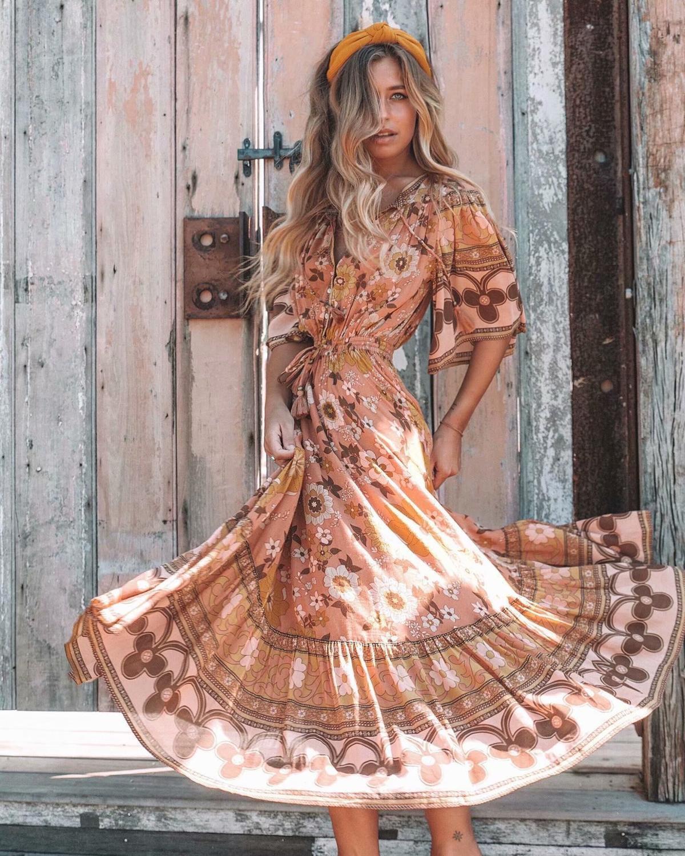 Fashionable new style Island Holiday tassel lace up print elegant temperament dress short sleeve A-line long dress