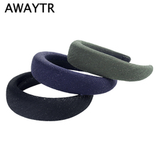 AWAYTR Solid Color Padded Headband for Women Sponge Shining Fabric Hair Loop Ladies Bezel Headwear Retro Accessories