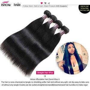 Image 2 - Ishow mechones de pelo liso con cierre, cierre de encaje transparente con mechones, mechones de cabello humano brasileño, postizo, mechones con cierre