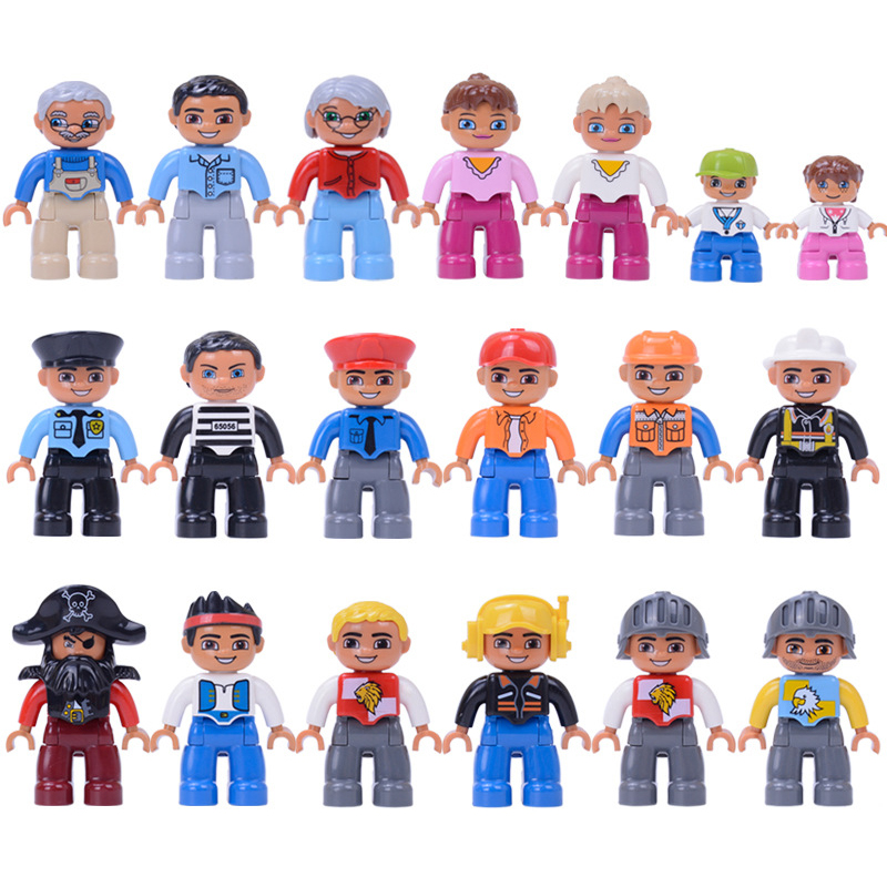 Action Figures Blocks Compatible DuploING Figures Animal Building Blocks Doctor Baby Robber Policeman Education Toy For Children