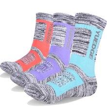 YUEDGE 3 Pairs Womens Cotton Cushion Crew Socks Outdoor Hiking Trekking Climbing Athletic Running Training hiking socks