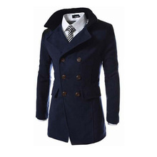 New Winter/Autumn Trench Coat Men Double Breasted Preppy Casual Solid Slim Male Long Trench Coat Windbreaker Long Jacket for Men autumn winter trench coat with belt double breasted long sleeved solid lapel long trench coat laipelar european trench for women