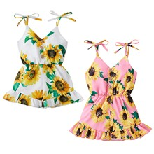 0-3Y Summer Cute Baby Girls Jumpsuits Sunflowers Strapless Sleeveless V Neck Single Breasted Bowknot Belt Romper