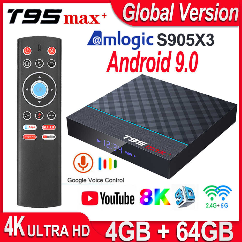 T95 MAX Plus Amlogic S905X3 Smart TV Box Android 9.0 4 go de RAM 32 go/64 go ROM double Wifi 8K 24fps Netflix Youtube 4K lecteur multimédia
