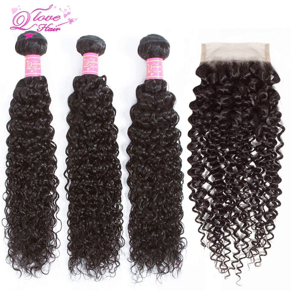 Queen Love Hair Kinky Curly Weave Human Hair Bundles With Lace Closure Remy Brazilian Hair Weave 3 Bundles With Closure