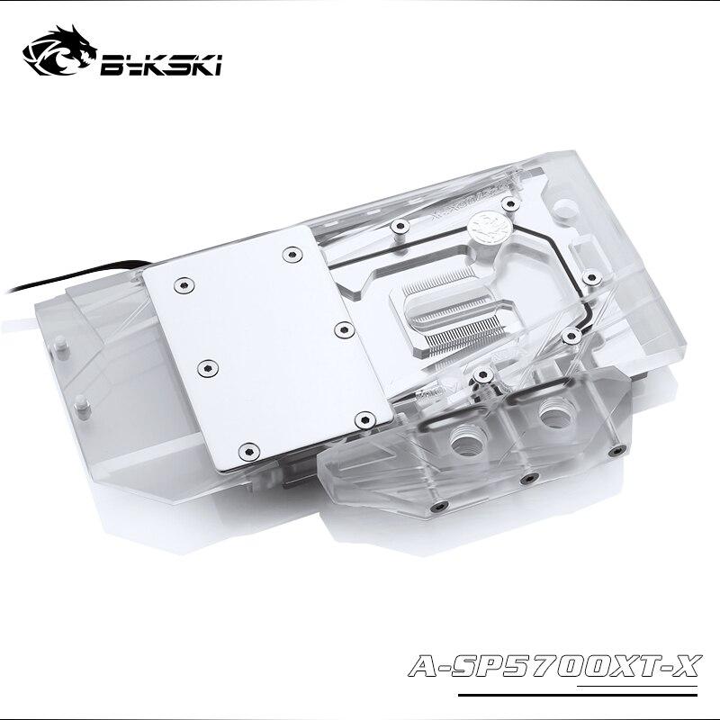 Блок для воды Bykski, для Sapphire RX 5700 XT Pulse MSI RX5700XT MECH/EVOKE AMD GPU карта с полным покрытием, медная поддержка, с RGB-подсветкой, для использования в играх с...