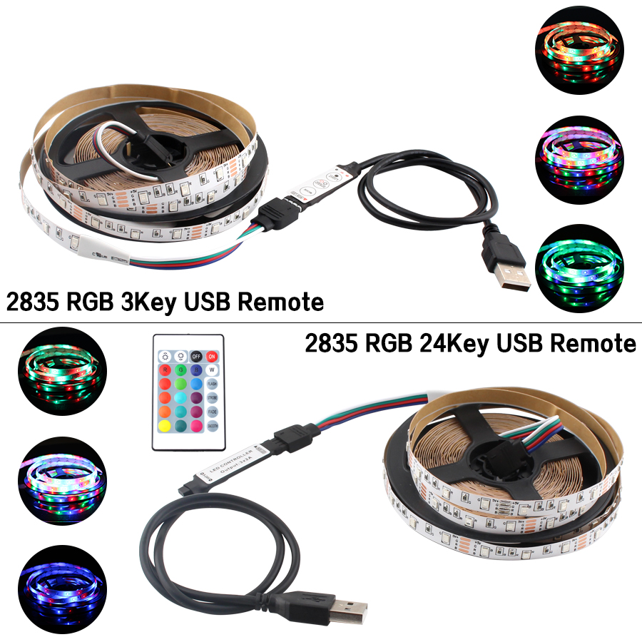 SMD 2835 USB LED Strip DC 5V RGB Flexible TV BackLight 60LED 5M 2835 Leds Diode Light USB 5V With 24 Key/3 Key Remote Controller