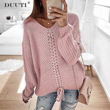 DUUTI Sexy V-neck Lace Up Knitted Sweater Autumn Winter New Casual Closure Sweater Long Sleeve Solid Stitching Loose Sweater D25 lace up slit asymmetric sweater