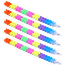 5pcs School Stationery Pencils Plastic Toy Splicing Kids Gift Pen Writing Tools Rainbow Pencils Office Replaceable Core Blocks(China)