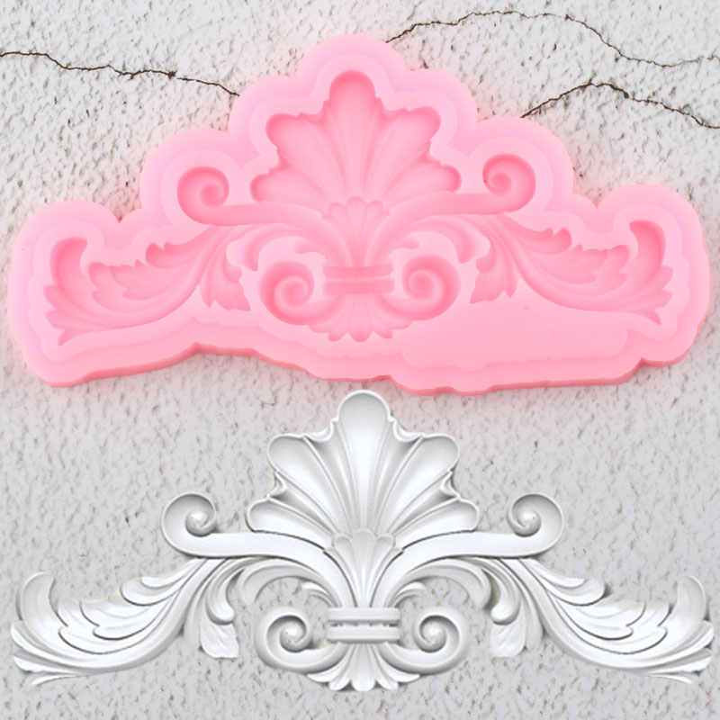 Scroll Relief Cake Border Silicone Mold DIY Leaves Cupcake Fondant Cake Decorating Tools Candy Clay Chocolate Gumpaste Moulds