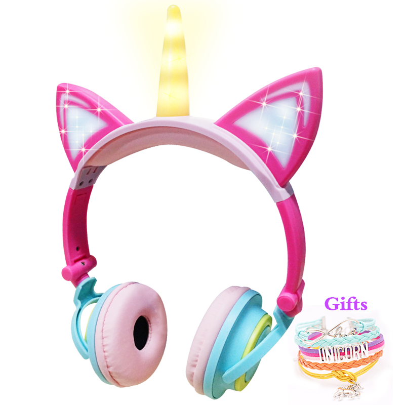 Funny Kids Headphone Led Light Unicorn Wired Headphones Girl Gamer PC Earphone Foldable Music Gaming Overear Headset Auriculares