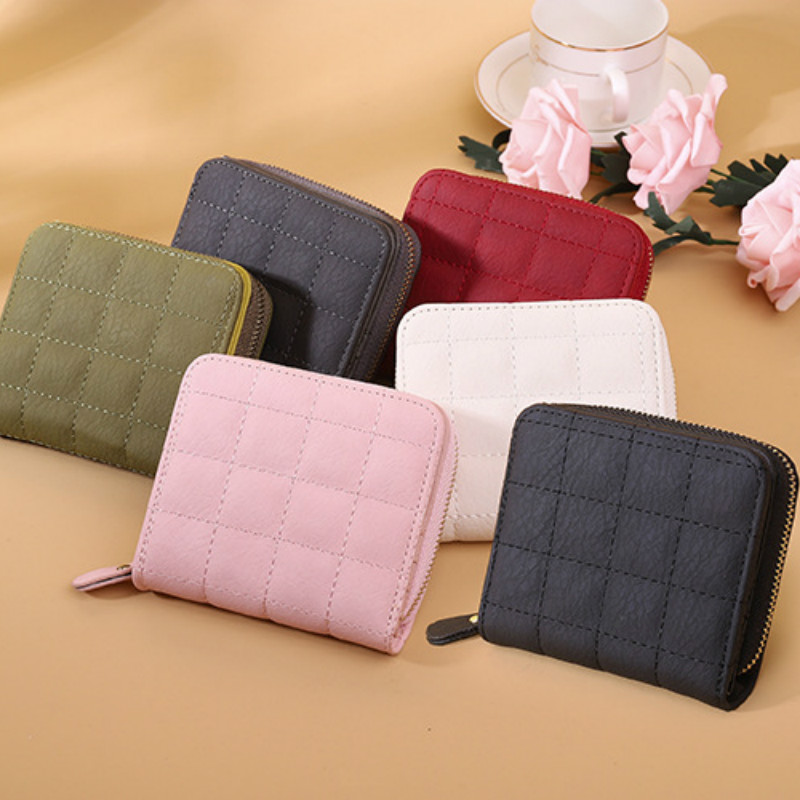 Wallets for Women Luxury Designer Fashion Short Embroidered Clutch Bag PU Solid Color Female Card Bag Coin Purse