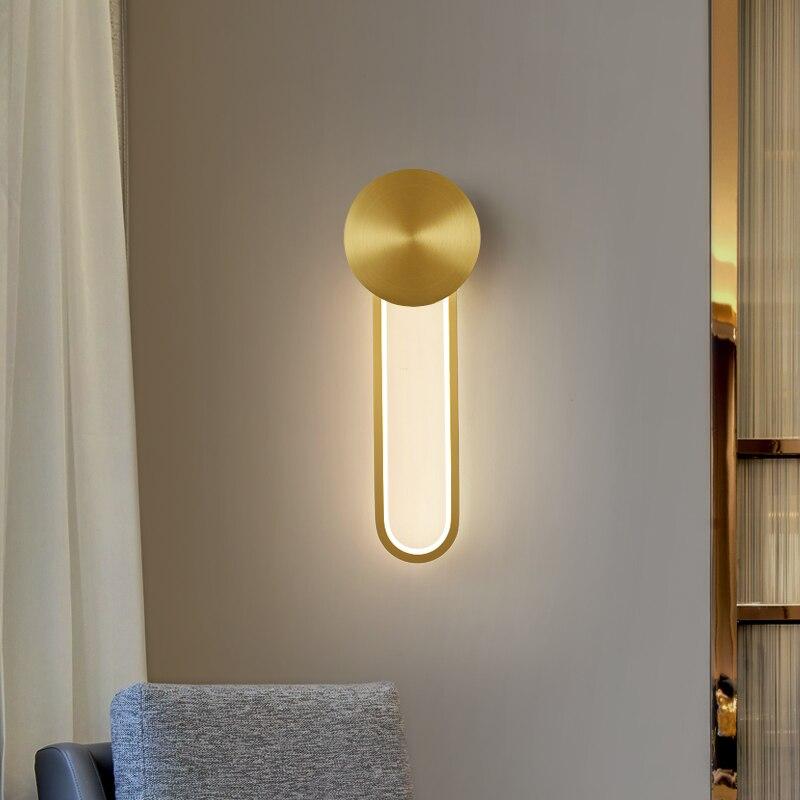 Lámpara de pared Led nórdica para dormitorio, mesita de noche, pasillo, escalera Interior moderna de latón, Loft, decoración del hogar, lámpara de pared del dormitorio