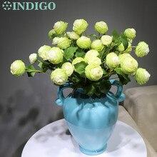 цена на INDIGO-9 Stmes  Wedding Flower (1stem 3 flowers) Silk Green Rose Peony Spray Tea Rose Floral Party Flower Free Shipping