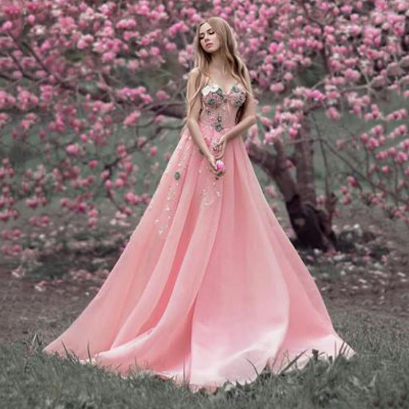 Pink Long Evening Dresses Off The Shoulder Pearls Lace 3D Floral Appliques Prom Dress A Line Custom Made Cheap Robes De Soiree