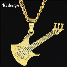 Fashion Rock Hip Hop Skull Guitar Instrument Necklaces Pendant Accessories Golden Color Fancy Decoration CY11(China)