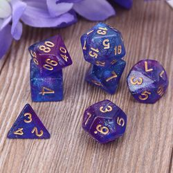 7 шт. D4-D20 акриловые многогранные кости 20 сторонних кубиков настольная игра для ролевых игр для бара, паба, клуба, вечерние
