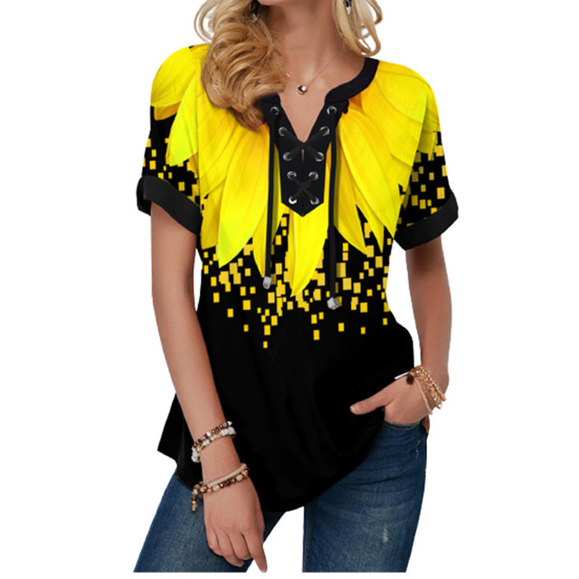 New Summer Women Blouses 3D Print Tie Dye Gradient Tops Casual Short Sleeve V-Neck Lace Up Oversize Shirt 5XL Loose Tops 4