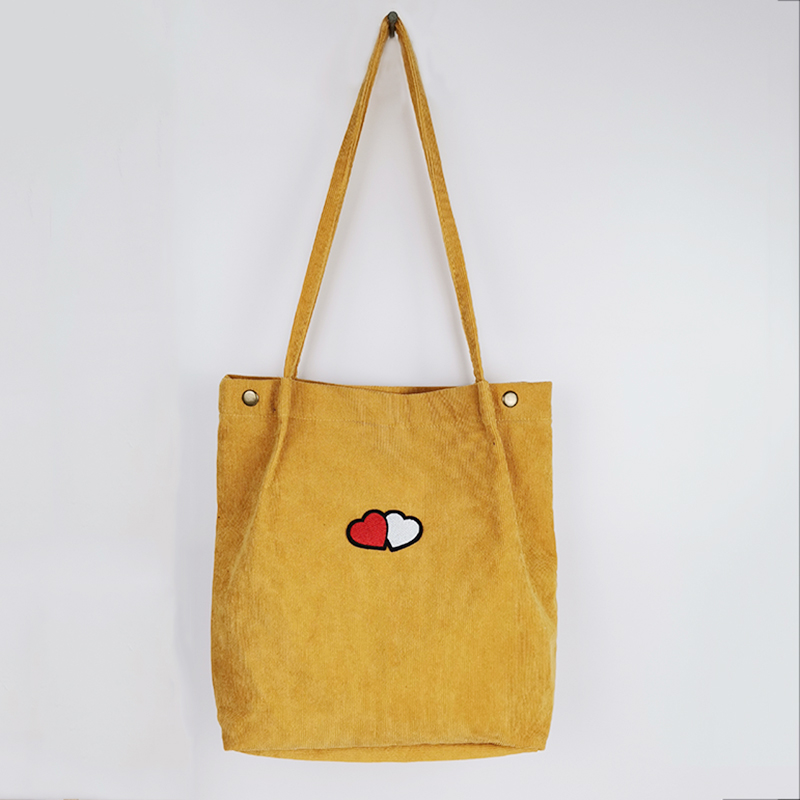 2020 New Women Corduroy Shoulder Bag Canvas Tote Bag For Women Shopping Handbag School Bags For Teenage Girls Femal Book Bags