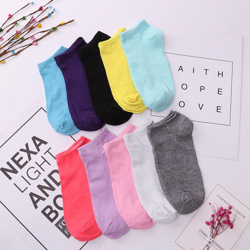 20pieces=10pair/lot Candy Colors Women Ankle Socks Funny Cute Solid Color Boat Socks Womens Lady Girl Art Sock Short Sox 2019