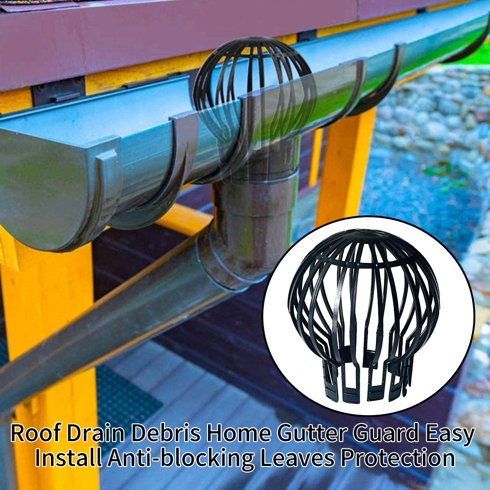 Home Leaves Protection Pp Outdoor Strainer Anti-blocking Gutter Guard Black Filter Debris Downpipe Easy Install Roof Drain Attractive Designs;