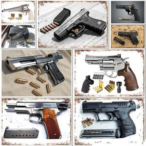 The Handgun Metal Sign Gun Tin Poster Decorative Plaque For Bar Pub Club Wall Art Home Decor Iron Painting Gamer Decoration