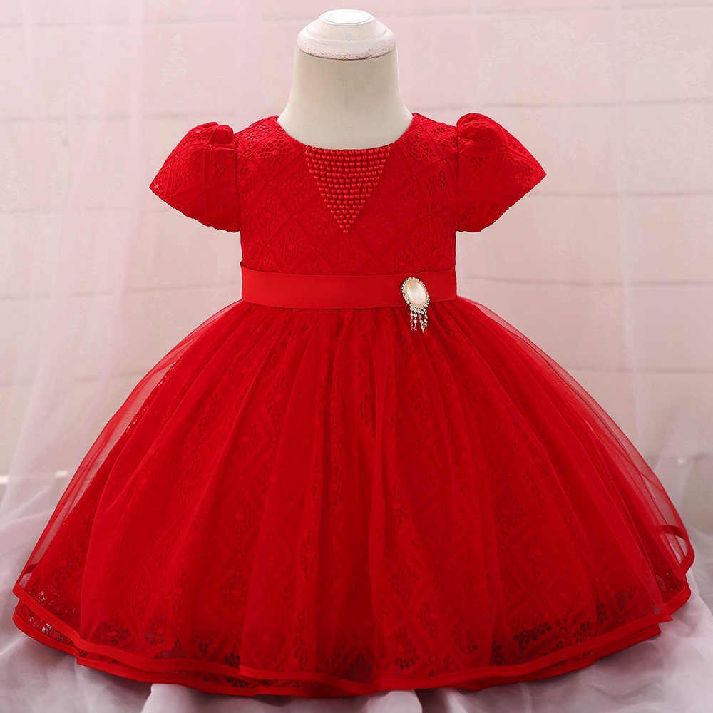 Nowy styl dla dzieci sukienka roku życia dziecko urodzinowa sukienka księżniczki Hollow out koronka Puffy Baby dziecka w pierwszym miesiącu kostiumy