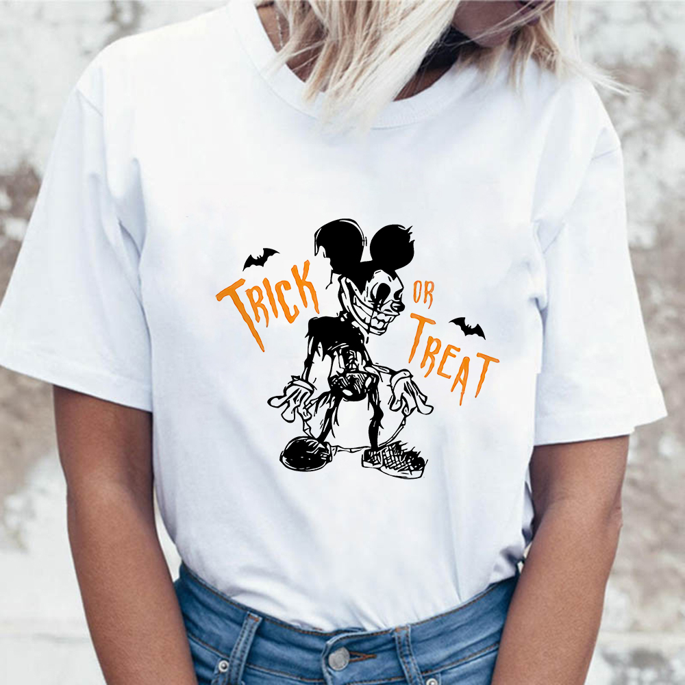Harajuku Zombie Mickey Trick Or Treat Printed Women Halloween T-shirts Casual Summer Short Sleeve Female T Shirt Women Clothing