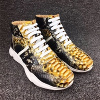 Autumn/Winter Designer Authentic Real Python Leather Men's Casual Sneakers Exotic Genuine Snakeskin Male Lace up High Lift Shoes