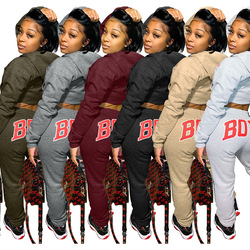 Casual Autumn Winter 2 pcs Set Letter Print hooded  Sweater +Long Pants tracksuit women clothes for women Outfit