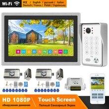 HomeFong WIFI Citofono con Serratura Elettrica 10 pollici Touch Screen 1080P Sistema di Controllo di Accesso Kit di Video Campanello Senza Fili per casa