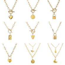 Colar de aço inoxidável feminino colar múltiplo colar de corrente grossa colar de bloqueio de moeda colar de pingente para mulher colar de jóias