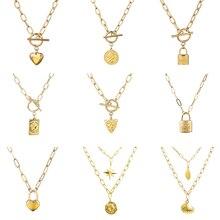 Collier en acier inoxydable pour femmes collier Multiple chaîne épaisse collier serrure à pièces pendentif collier pour femmes collier bijoux