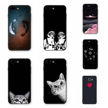 Simple Black Matte Case For iPhone 7 8 6 6S Plus Cute Cats Pattern Phone Cases For iPhone X XR XS Max Soft Silicone Back Cover(China)